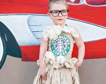 dab502c7d Coffee Costume, Frappucino Costume, Girls Halloween Costume, Starbucks  Costume, Pageant Wear, OOC, Coffee Dress, Frappe Costume, Frappucino