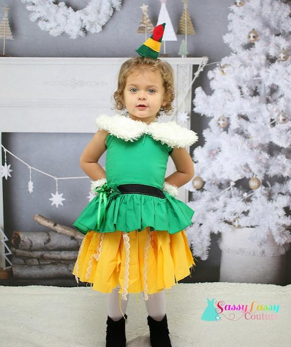 ELF TUTU COSTUME Ladies Kids Christmas Fancy Skirt Dress Santa`s Helper Party UK