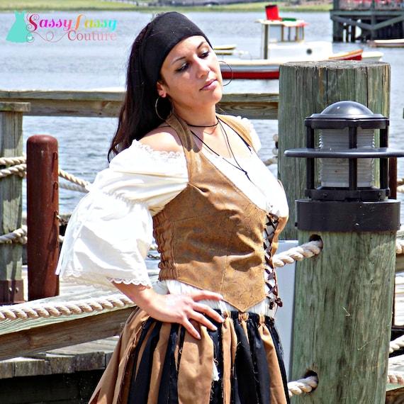 Lady Pirate Swash Buckle Ocean Wave Navy Treasure Shells Hat Beachcomber sea anchor trim