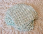 Vintage Chenille Fabric Quilt Squares - 15 - 6 inch squares, Morgan Jones aqua popcorn - 500-586 - BARGAIN prices