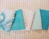 Vintage Chenille Fabric Mini Sets - aqua, turquoise white chenille - Five 12 quot x 18 quot pieces - 100-550