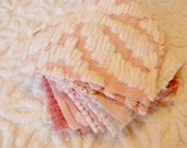 Vintage Chenille Fabric Quilt Squares - 15 - 6 inch squares, pinks - 500-565