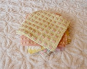 Vintage Chenille Fabric Quilt Squares - 15 - 6 inch squares pink, yellow white - 500-600