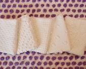Vintage Chenille Fabric Mini Sets - Five 12 quot x 18 quot pieces - Just Whites - 200-128