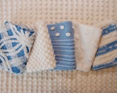 Vintage Chenille Fabric Mini Sets - blue white chenille - Five 12 quot x 18 quot pieces - 100-559