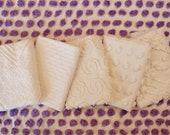 Vintage Chenille Fabric Mini Sets - Five 12 quot x 18 quot pieces - Just Whites - 200-131