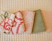 Vintage Chenille Fabric Mini Sets - pink, green white chenille - flowers - Five 12 quot x 18 quot pieces - 100-515