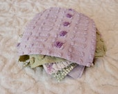 Vintage Chenille Fabric Quilt Squares - 12 - FIVE inch squares, green purple - 500-520