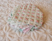 Vintage Chenille Fabric Quilt Squares - 15 - 6 inch squares pink, green white - 500-597