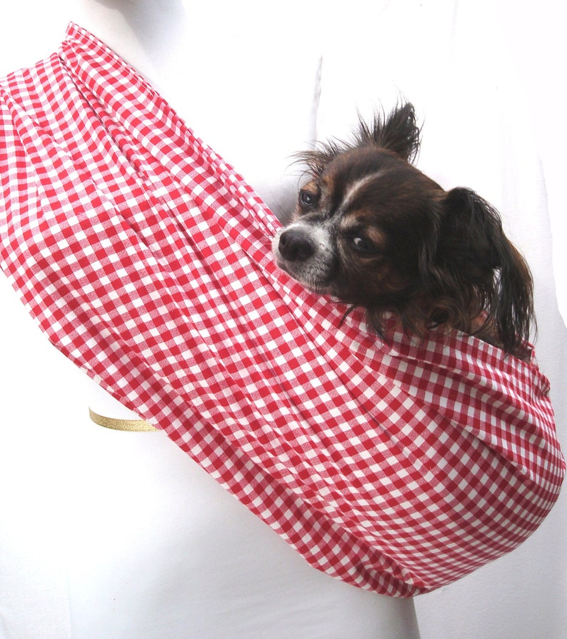 Red and White Gingham Dog Carrier Sling Cotton also available image 0
