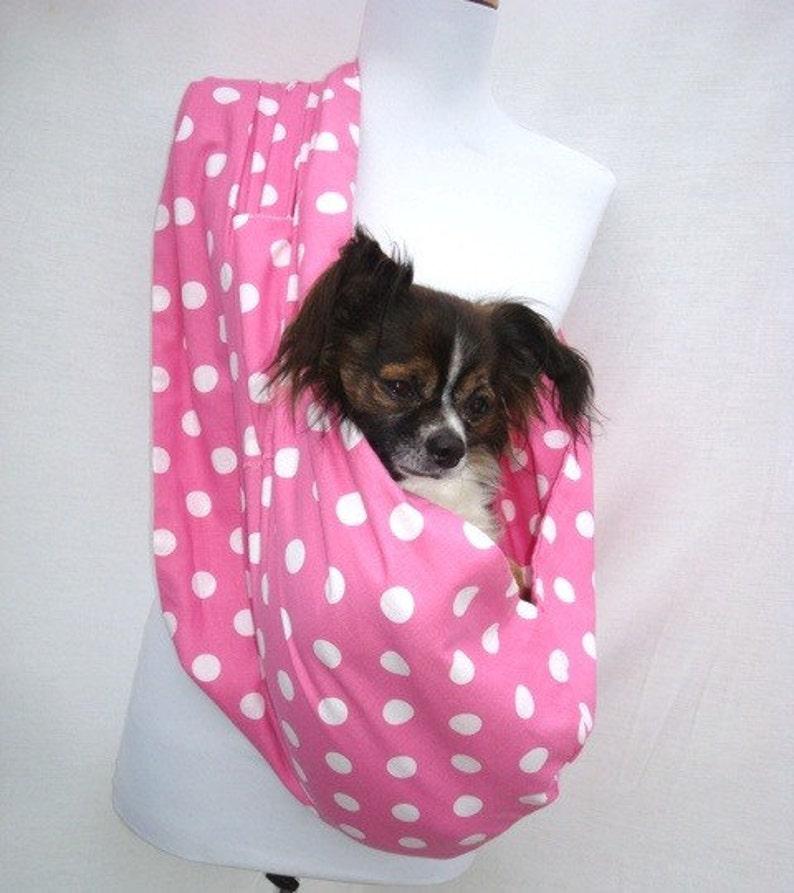 Pet Dog Sling Carrier Pink and White Polka dot