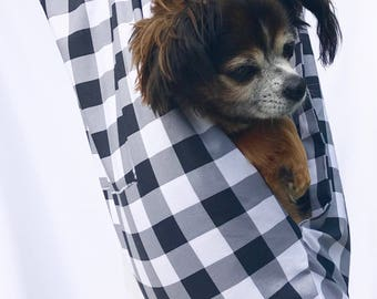 Dog Sling Carrier Black ,White and Grey Gingham