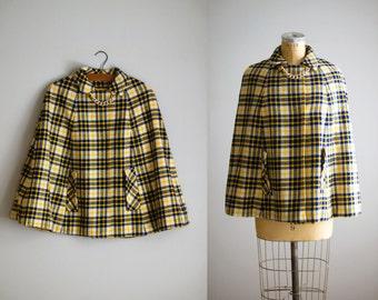1960s cape / 60s plaid wool cape coat