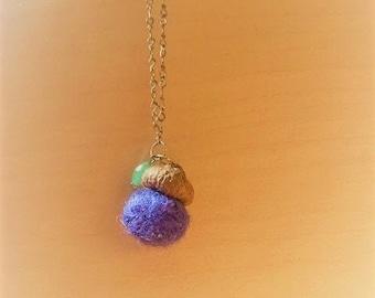 Blue Felted Acorn + Gemstone Necklace