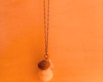 White Felted Acorn + Gemstone Necklace
