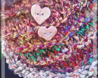 Handspun Knit Heart Cowl