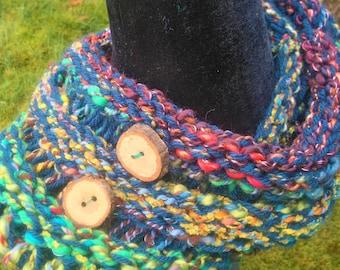 Wood Button Drop Stitch Cowl