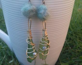 Sea Glass + Wool Earrings
