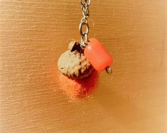 Orange Felted Acorn Necklace