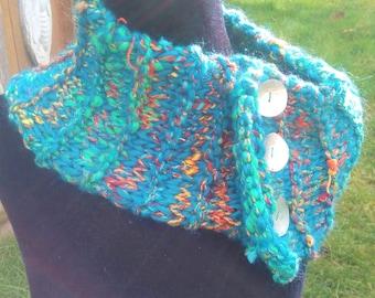 Abalone Button Handspun Mermaid Cowl