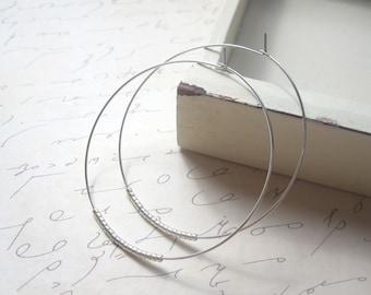 Silver Seed Bead Hoop Earrings, Large Gold Plated Earrings, Hoop Earrings, Also available in Gold Hoops