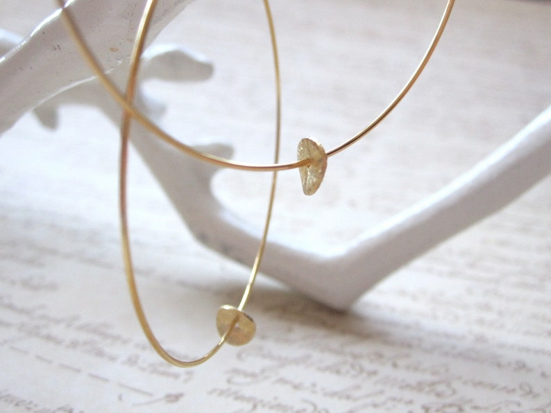 Gold Plated Hoops with Gold Brushed Disc Gold Hoop Earrings image 0