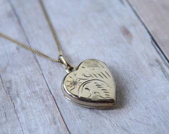 Vintage Gold Vermeil Heart Locket with Stone, Original Vermeil Chain