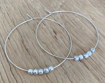 Silver Hoops, 5 Sterling Silver Plated Nugget Beads, Hoop Earrings, Also in Gold