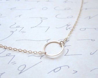 Simple Gold Circle Necklace, Oval Necklace, 14k Gold Filled Chain Gold, Circle Necklace, Also in Sterling Silver