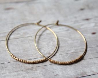 Matte Gold Seed Bead Hoop Earrings, Large Gold Plated Earrings, Hoop Earrings, Gold Hoops,