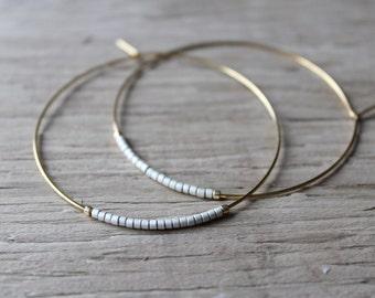Silver Seed Bead Hoop Earrings, Large Gold Plated Earrings, Hoop Earrings, Gold Hoops, Also Available in Silver
