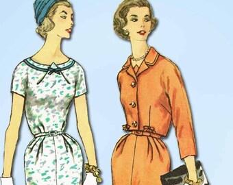 1950s Vintage Simplicity Sewing Pattern 2465 Uncut Misses Dress & Jacket Sz 33 B