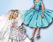1950s Vintage McCalls Sewing Pattern 2162 10.5 Inch High Heel Revlon Wedding Dress Doll Clothes