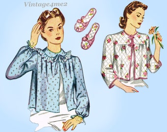 Simplicity 4756: 1940s Misses Bedjacket & Slippers 32B Vintage Sewing Pattern