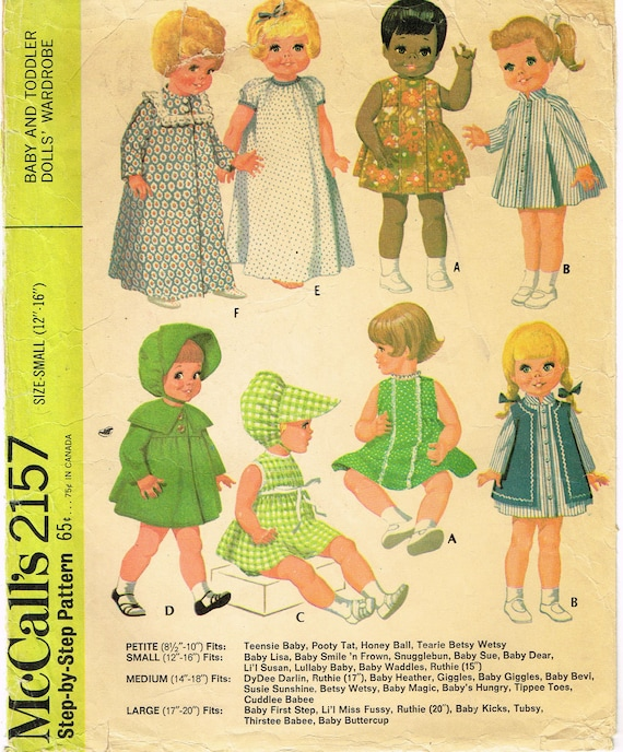 """Tiny Tears Dy Dee Vtg 60s Baby Doll Clothes Pattern ~ 11/"""" 12/"""" Pebbles"""