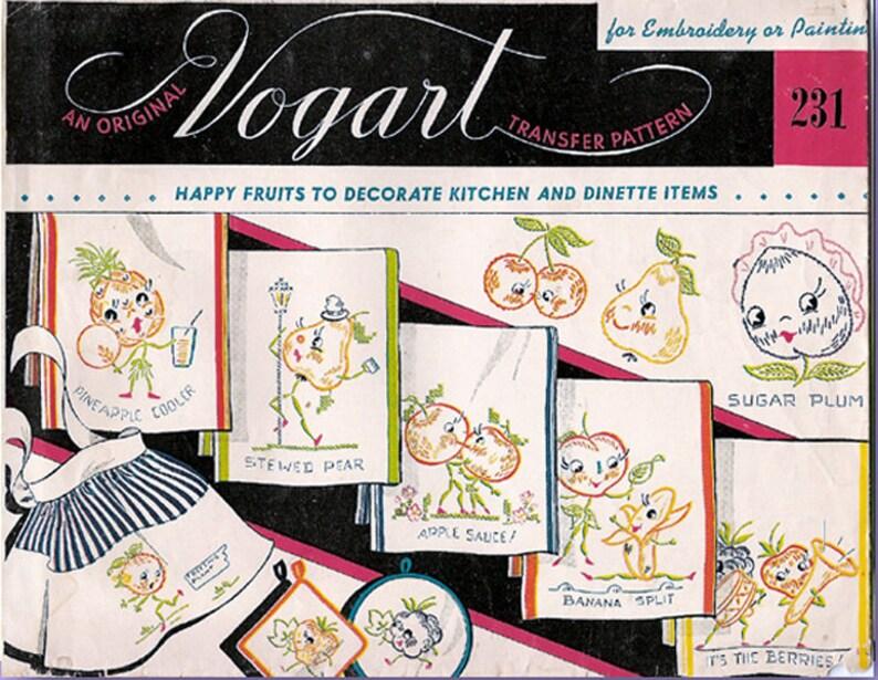 1950s Vintage Vogart Embroidery Transfer 231 Uncut DOW Dutch Girl Tea Towels