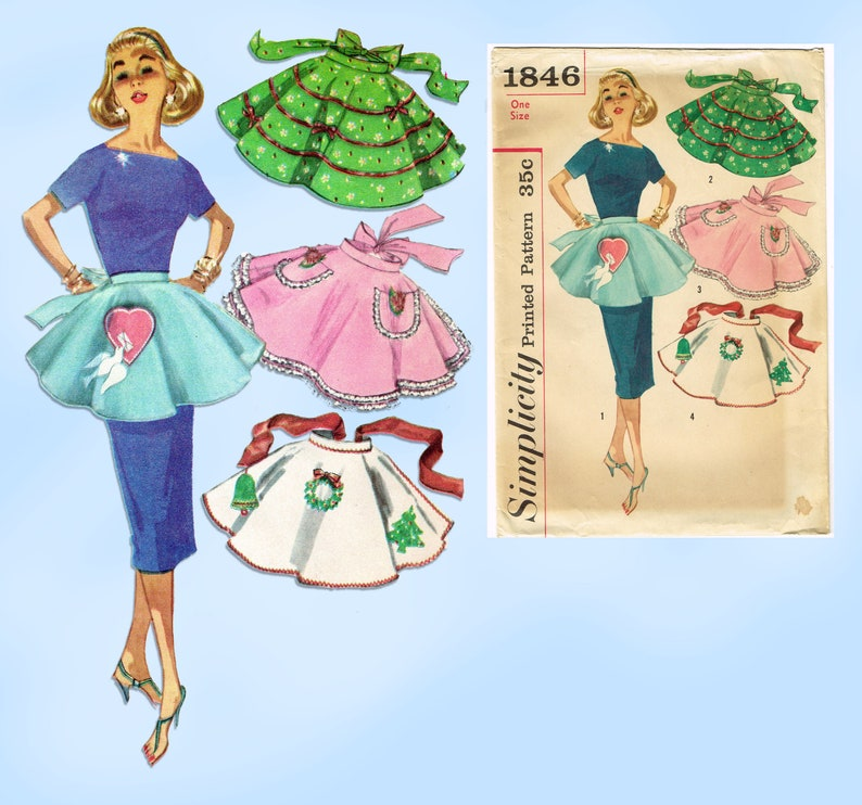 1950s Vintage Simplicity Sewing Pattern 1846 Misses Holiday Party Apron Fits All