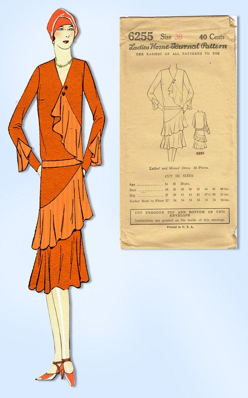 1920s VTG Ladies Home Journal Pattern 6255 Uncut Flapper Cocktail Dress Sz 38 B