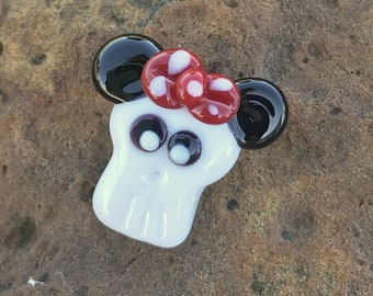 NEW Girly Skull with Ears and Bow CUTE! Handmade Glass Lampwork Focal Bead by TH