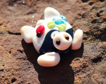 Handmade glass lampwork bead focal Sea Turtle pretty in ivory, blues, with little red ladybug bead 4th of July Whimsical BeadsbyTinaH