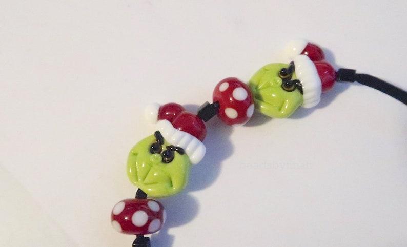 Christmas Grinch Inspired Pair Focal Handmade glass lampwork image 0