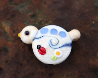 Pretty Lil Bird Focal with ladybug detail Red, White, Blue 4th of July / Patriotic  Handmade Glass Lampwork BeadsbyTinaH