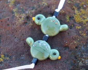 Sweet Olive Green with raku Birds Pair  Handmade Glass Lampwork Focal Bead BeadsbyTinaH made to order