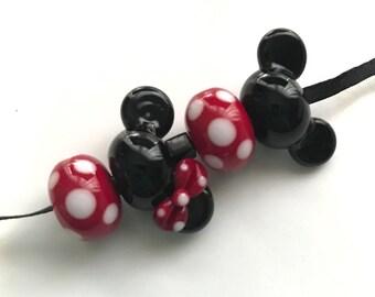 Ears and Polkadots Girl Boy Set Handmade Glass Lampwork Beads BeadsbyTinaH