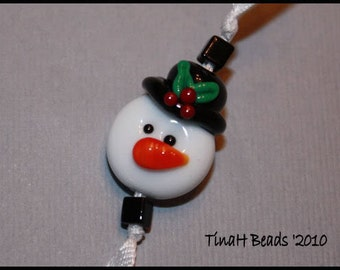 Snowman Focal with holly on his top hat Handmade glass lampwork beads set by TH