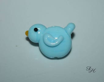 Sweet    Blue Bird Handmade Glass Lampwork Focal Bead by Tinahbeads