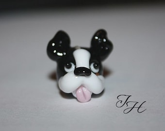 Boston Terrier Focal Bead made to order 3/32 hole   Handmade glass lampwork bead by TH sra