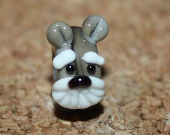 Schnauzer large hole Slider bead for Euro style Jewelry - Handmade glass lampwork  by TH