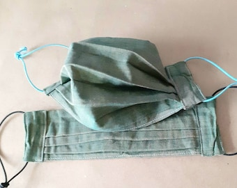 Pair of Large size face masks / covering, made with upcycled cotton and with adjustable elastic loops