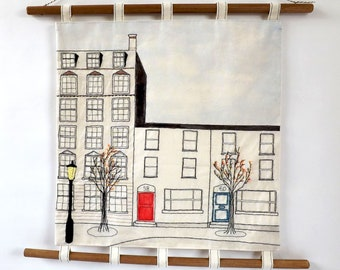 Terraced Houses Cardiff Bay Hand Embroidered and Painted Wall Hanging